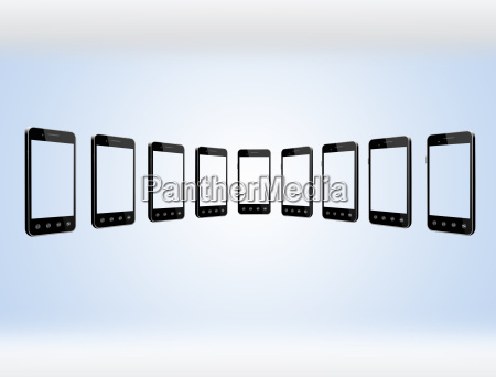 smart phones in row on the