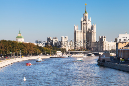 embankments moskva river and tower in