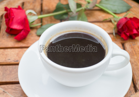 cup of black coffee in home