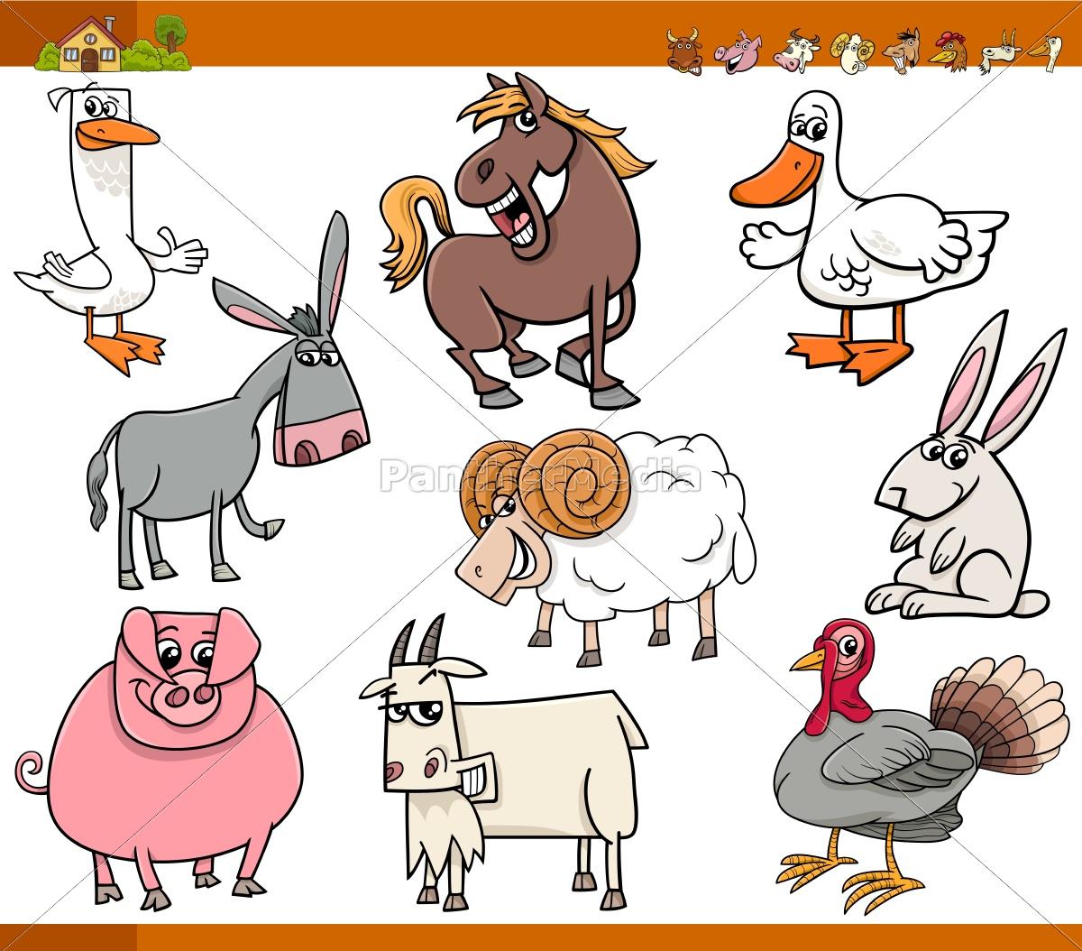 nutztiere, set, cartoon-abbildung - 14726941