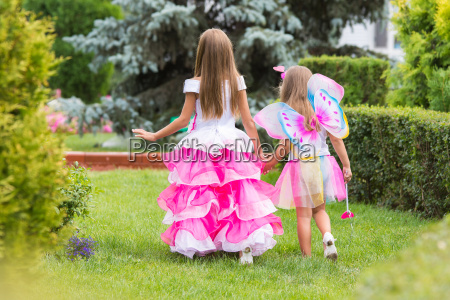 two little girls princess and fairy