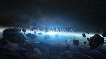 asteroids bedrohung ueber dem planeten erde