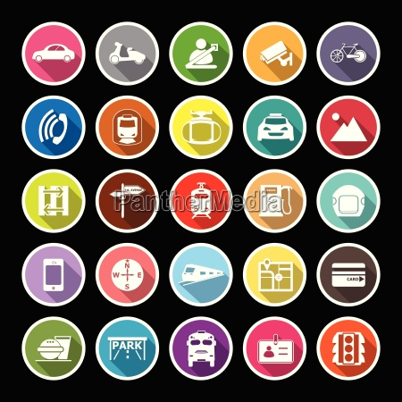 land transport related flat icons with
