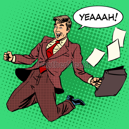business success businessman screaming with joy