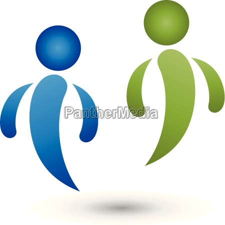 two people logo people partnership
