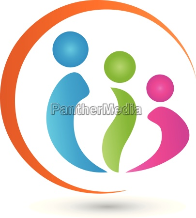 three people logo people family