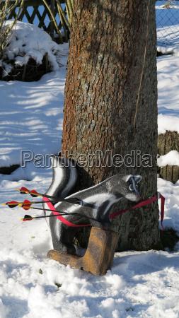 bogenschiessen im winter auf ein 3d