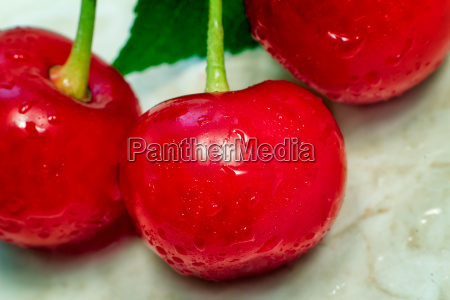bright red delicious ripe cherries