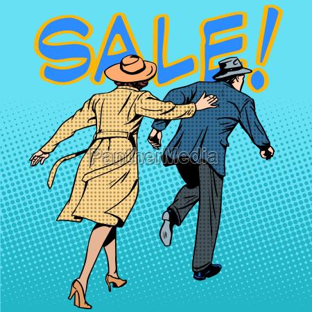 family running sale retro style pop