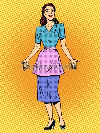 friendly housewife beautiful woman retro style
