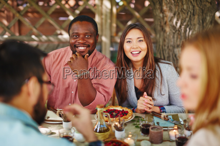 couple by thanksgiving table