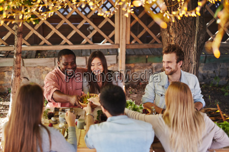 guests by festive table