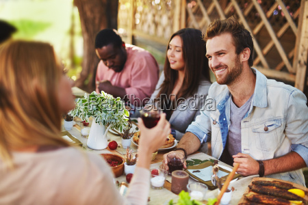 happy man by festive table
