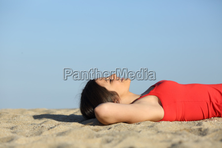 woman resting and relaxing on the