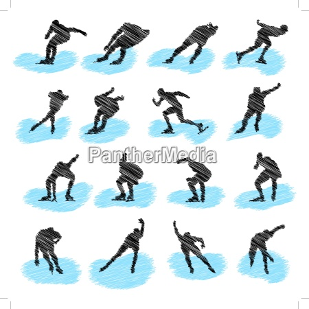 set of ice skating athlete grunge