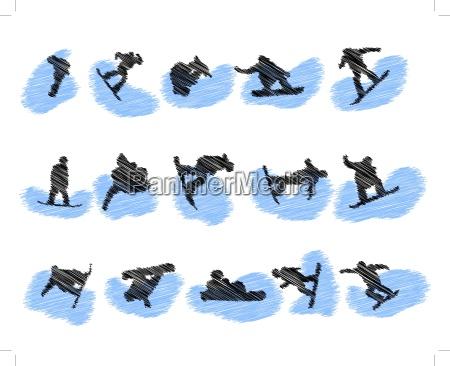 set of snowboard athlete grunge silhouettes
