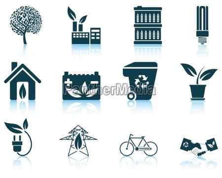 conjunto de icono ecologico