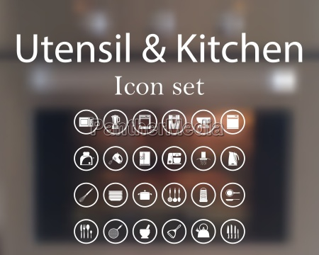 utensil and kitchen icon set