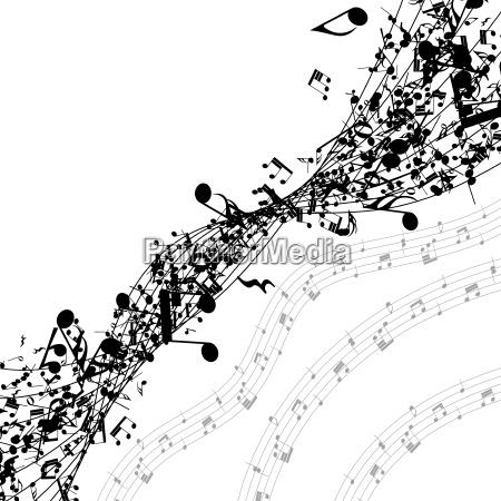 musiknoten in einer reihe