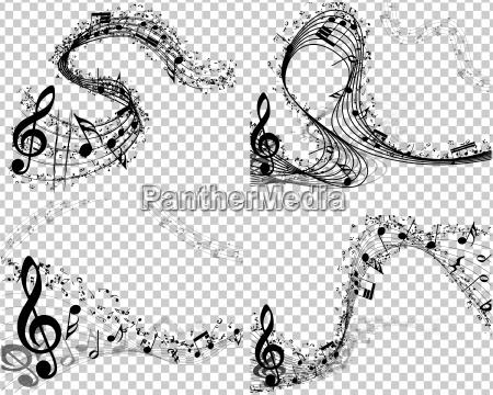 satz von 4 musikalischen hintergruenden