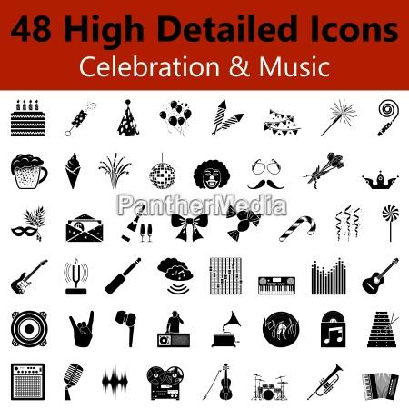feiern und musik glatte symbole