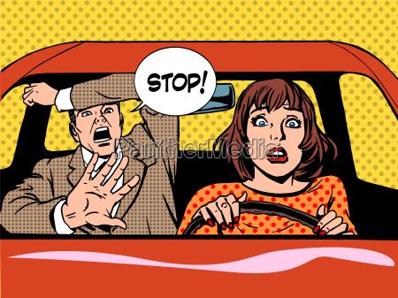 stop woman driver driving school panic