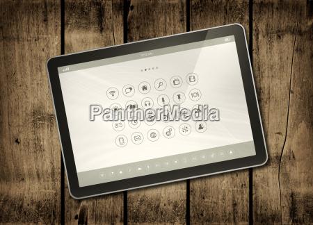 digital tablet pc auf einem dunklen