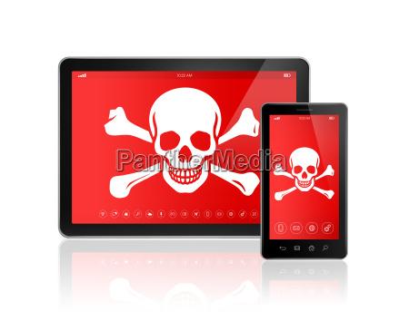 digitale tablet pc und smartphone mit