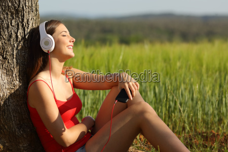 girl listening to the music relaxed