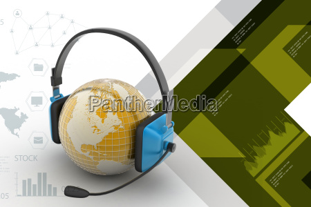 headset with world globe concept for