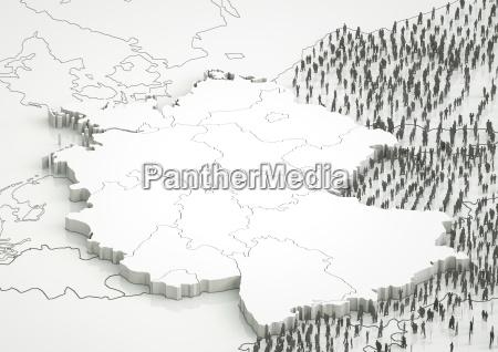 deutschland mit angrezenden laendern und fluechtlingen