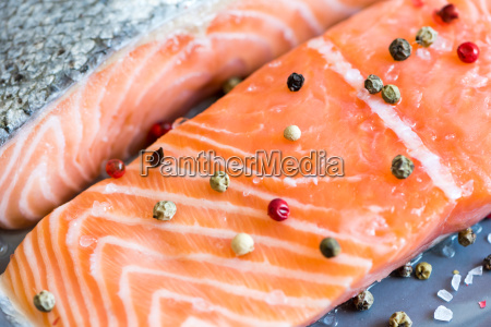 fresh raw salmon fillet with peppers