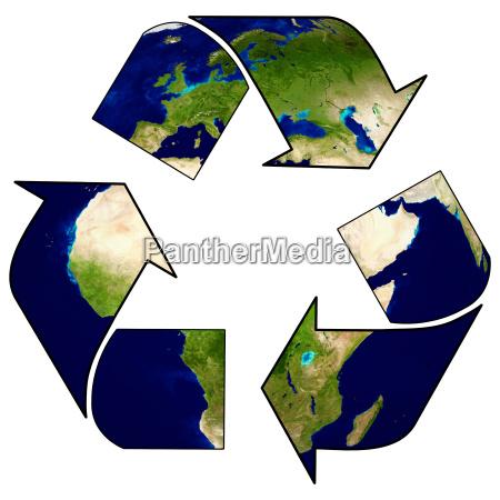 recycling logo mit baum und erde
