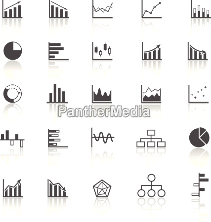 graph icons with reflect on white