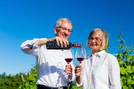 senioren paar geniesst rotwein draussen