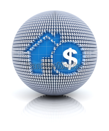 home mortgage icon on globe formed