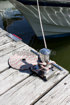 rope secured to a cleat on