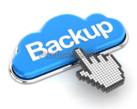 hand cursor eine wolke geformten backup