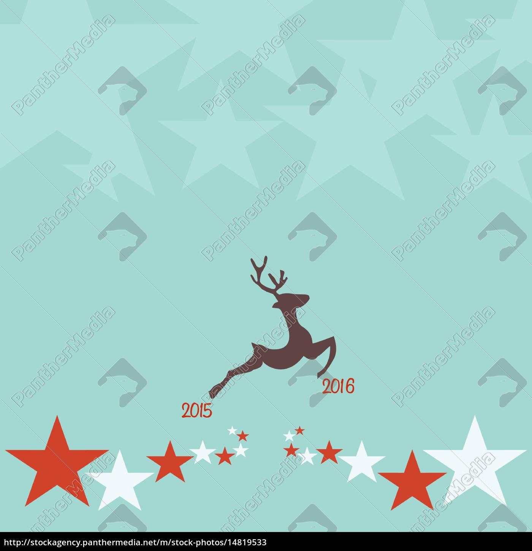 weihnachten, hintergrund, mit, rentieren, verziert, vintage-stil - 14819533