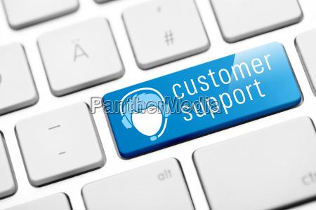 customer support key on white keyboard