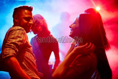 happy couple at disco