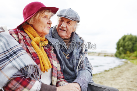 restful aged couple