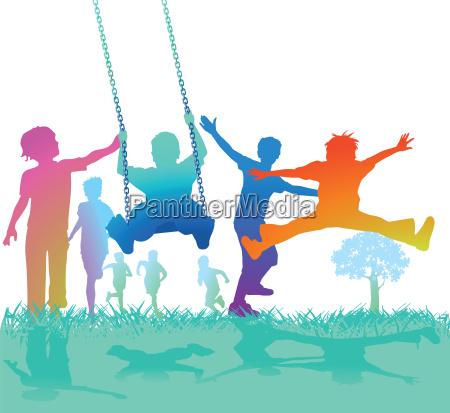 schaukelnde und springende kinder