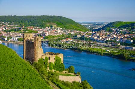 ehrenfels castle on rhine river near