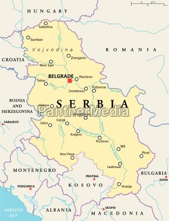 serbien politische karte