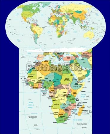 welt und afrika karte