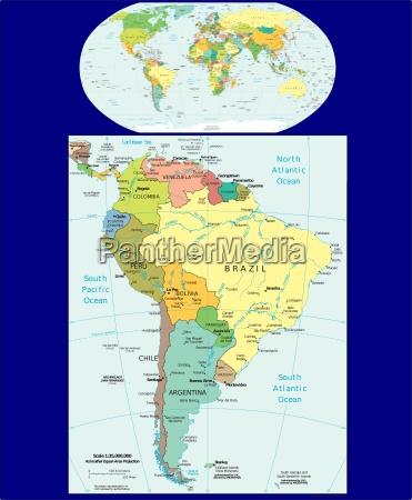 welt und suedamerika region karte