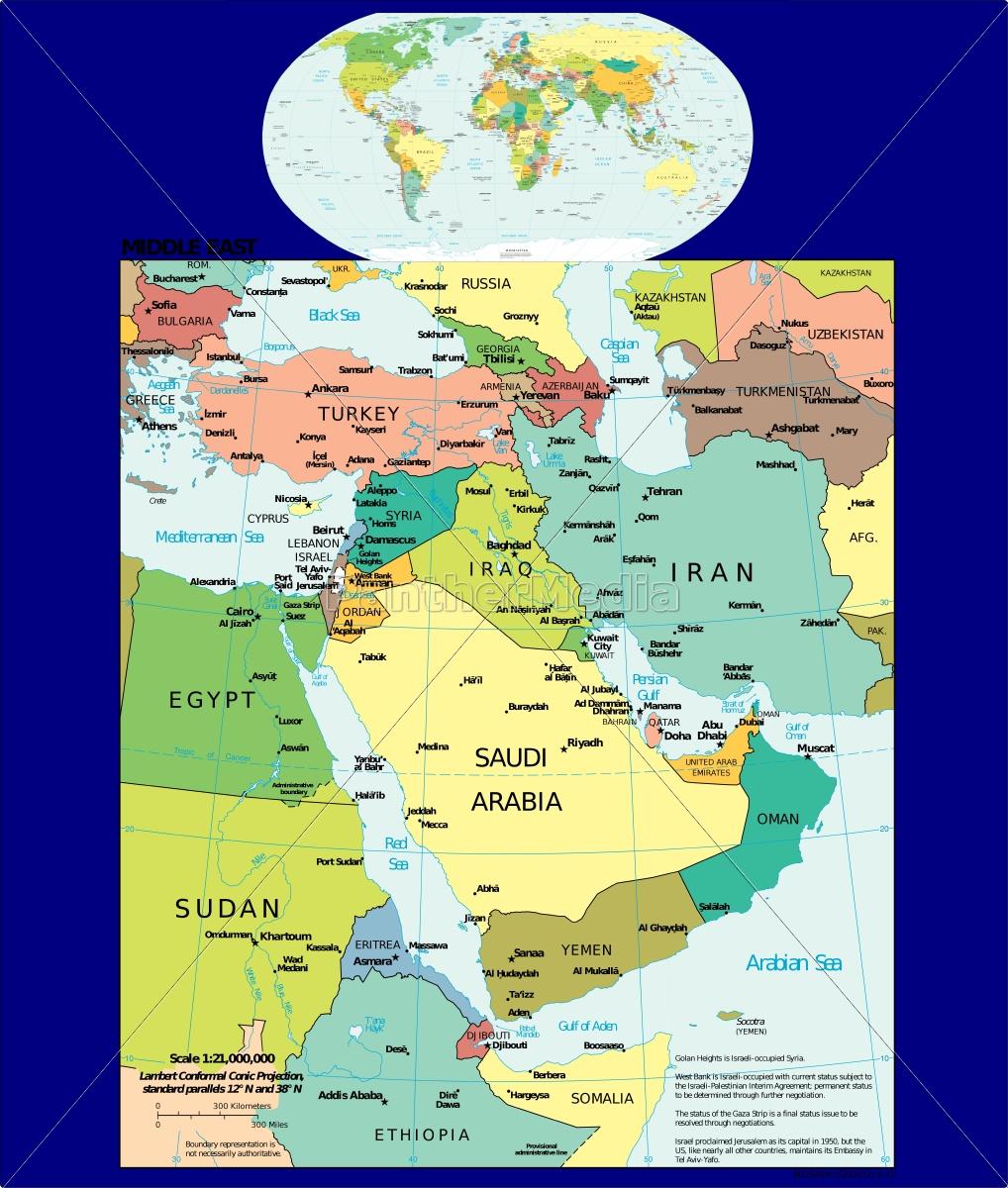 Nahost Karte.Lizenzfreie Vektorgrafik 14833231 Welt Und Nahost Karte