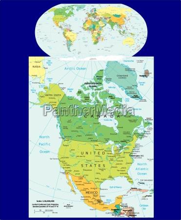 world und north america region karte