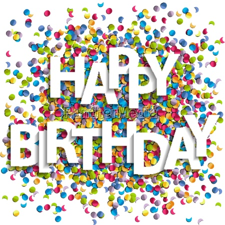 happy birthday letters with confetti vector